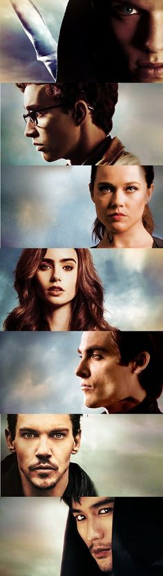 The Mortal Instruments.. City Of Bones official posters. Jace Wayland, Simon Lewis, Isabelle Lightwood, Clary Fray, Alec Lightwood, Valentine Morgenstern, Magnus Bane