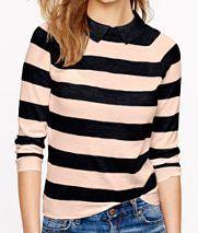 Navy & Peach Collared Sweater - J Crew