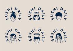 Logo design love - Sushi Daily logo and identity, by Without – Logo design love Logo Design Liebe, Food Logo Design, Logo Food, Identity Design, Brand Identity, Logo Inspiration, Japan Logo, Sushi Logo, Friend Logo