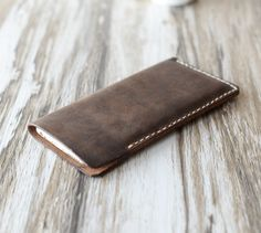 Perfect gift for dad. Personalized IPhone 6S Case / iphone sleeves made of genuine brown leather – a unique product by greenseed via en.DaWanda.com