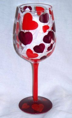 15 Fl. Oz. Heart Hearts Hand Painted Wine Glass by Creative Cocktails. $26.95
