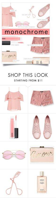 """""""4.05.2017"""" by renyic ❤ liked on Polyvore featuring BB Dakota, Aéropostale, MAC Cosmetics, H&M, BCBGMAXAZRIA, Chanel, monochrome, Pink, outfits and women"""