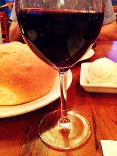 Wine with bread service from Kona Cafe at Disney's Polynesian Resort. Photo taken January 2013 by Allison Hughes.