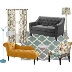 Blue, Gray, and Yellow Apartment Living Room Mood Board
