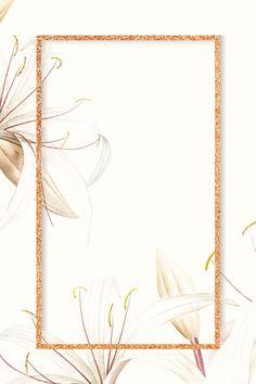 Copper glitter frame on white spider lily pattern background vector Framed Wallpaper, Flower Background Wallpaper, Flower Backgrounds, Pink Wallpaper, Background Patterns, Wallpaper Backgrounds, Iphone Wallpaper, Instagram Background, Instagram Frame