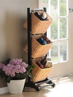 Basket Tower for Shoes Storage, http://hative.com/creative-shoes-storage-ideas/