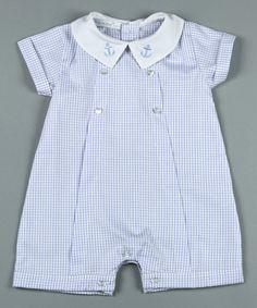 This Blue & White Checks Pima Romper - Infant is perfect! #zulilyfinds