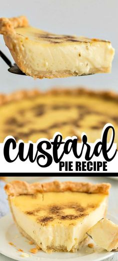 Custard pie is an old fashioned, southern dessert that people have been making for nearly 200 years. This pie is smooth, silky and ridiculously rich. Southern Desserts, Just Desserts, Delicious Desserts, Custard Tart, Custard Filling, Egg Custard Pies, Pie Recipes, Baking Recipes, Sweets Recipes