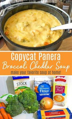 Copycat Panera Broccoli Cheddar Soup Recipe - A dupe of Panera's most delicious Broccoli & Cheese Soup — Make as much as you'd like at home! Chicken Soup Recipes, Easy Soup Recipes, Healthy Crockpot Recipes, Dinner Recipes, Keto Recipes, Healthy Soup, Chicken Soups, Dessert Recipes, Cooker Recipes