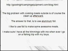 Camping and Cooking With Aluminum Foil