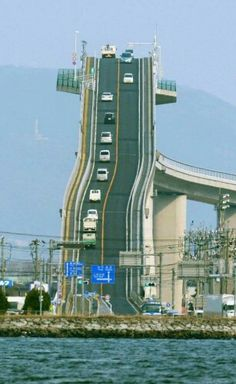 Steep gradient  bridge in Japan so large container ships can pass .a