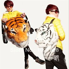Cheap lion backpack, Buy Quality backpack fashion directly from China fashion backpack Suppliers: 2016 Fashion Creative Animal Style Lifelike Simulation Tiger Head Lion Backpack Shoulder Bag Bigbang G-dragon Spoof Gift Party Animal Backpacks, Orange Backpacks, Cute Backpacks, Panda Head, Tiger Head, Dora Pictures, White Backpack, Animal Bag, Animal Heads