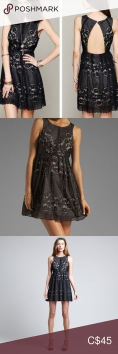 """Free People Rocco  black Lace Cutout Dress Beautiful Free People Rocco cocktail dress   The size of dress is women's 8. Please see measurements also Black with nude lining underneath Lace Cutout back back, key hole, one button closure under the neck High waist, fitted upper, slightly fit and flare  Zipper on the side Approximate measurements: armpit to armpit: 18"""", across (high waist): 15"""", length from top of shoulder to hem: 35"""" The dress is lightly used and in very good condition  636 Free… Floral Maxi Dress, Boho Dress, Free People Lace Dress, Tent Dress, Cutout Dress, Dress Size Chart Women, Vintage Dresses, High Waist, Dresses With Sleeves"""
