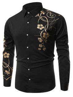 Long Sleeve Floral Printing Shirt - BLACK 3XL