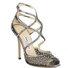 Jimmy Choo Crystal Embellishment Mesh Sandal Sliver Anthracite ~ I LOVE the SPARKLIES, the design, and style.  Do you think he would make a shorter heel just for me, if I begged?