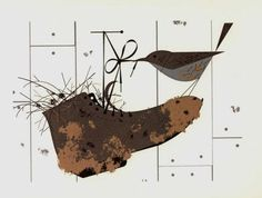House Wren with Shoe - Ford Times Silkscreen Print