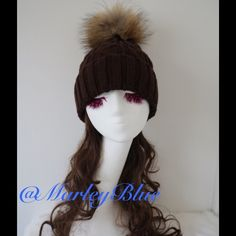 SUPER SALE! This weekend only!  Brown Cable Knit Cable knit hat in chocolate brown color. Large pompom in genuine raccoon fur. Pompom is detachable for easy cleaning of hat. Please do not buy this listing...comment that you would like to purchase and I will make you a new listing. SALE! No additional discounts Accessories Hats