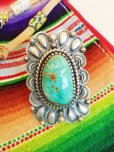 Heavy Repousse Turquoise Ring. Native American Jewelry. Western fashion. Cowgirl chic. Boho vibes. Big huge turquoise rings. therollinj.com