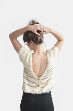 ffe716d9440d Hand Knit Womens Cardigan, Cotton Open Back Sweater, Short Sleeve Cardigan  in Light Ecru, Backless Sweater Top   Hand Knitted