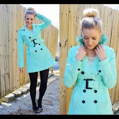 New York & Company Mint Green trench rain coat This super stylish coat will keep you dry in those summer rainstorms while looking cute. New York & Company Jackets & Coats Trench Coats