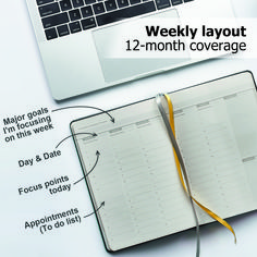 Weekly monthly planner organizer for men and women productivity and goal planner - leather journal - Gray