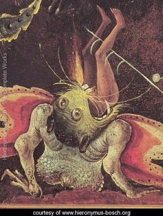 Judgement, detail of a man being eaten by a monster - Hieronymus Bosch (El Bosco) Hieronymus Bosch Paintings, Arte Tribal, Garden Of Earthly Delights, Renaissance Paintings, Dutch Painters, Sea Monsters, Medieval Art, Fantastic Art, Surreal Art