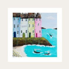 This artwork depicts the beautiful coloured buildings positioned at  cliff top overlooking the boats ferrying passengers from one side of the city to another.  All Lelly Lou art prints are printed on high-quality matte paper, signed & numbered  by Lelly herself and embossed with Lelly Lou signature stamp. Limited edition of 250 & available in 3 sizes