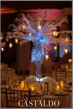 Grand Bohemian Orlando Hotel Wedding: Danielle and Chris. Photographed by Castaldo Studio. Crystal tree from A Chair Affair