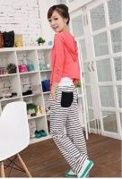 Casual Style Pockets Embellished Stripe Long Pant Black&White