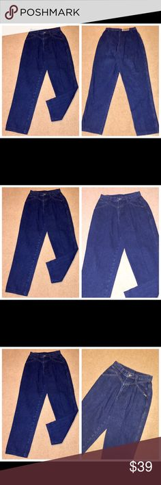 """Vintage Rocky Mountain Hi Waist denim jeans 9/10 Vintage Rocky Mountain Hi Waist denim jeans, Sz 9/10 Vintage Rocky Mountain ladies 100% cotton dk denim jeans w/ front (but no back) pocket, a high waist and ever-so-slightly tapered legs (not """"skinny""""), Sz 9/10 Waist - 26 Inseam - 29 Rocky Mountain Jeans"""