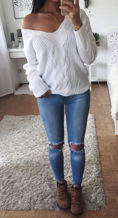 Off Shoulder White Knit + Destroyed Skinny Jeans                                                                             Source Swag Fashion, Trend Fashion Outfits, Fall Fashion, Runway Fashion, Womens Fashion, 90s Fashion, Style Fashion, Fashion Beauty, Tumblr Ootd