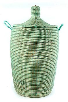 Senegal Fair Trade ~ Aqua Laundry Hamper Medium