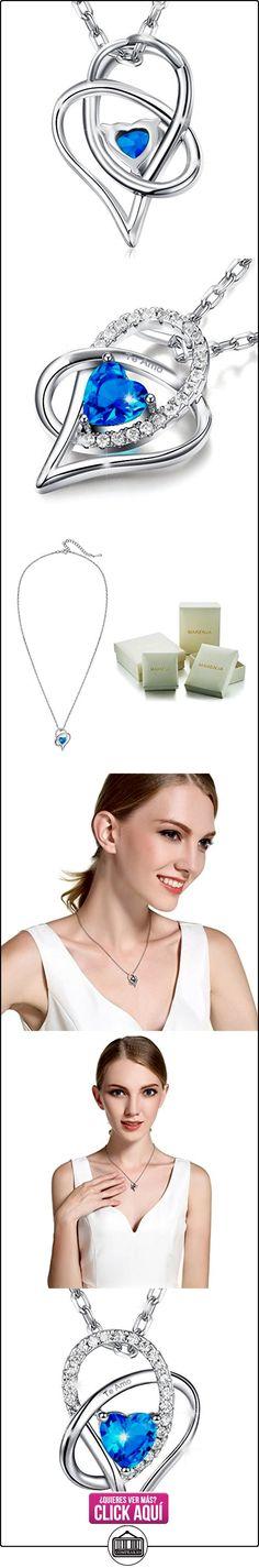 """MARENJA Cristal-Collar para Mujer Corazón en Cristal Azul-Grabado """"Te Amo""""-Chapado en Oro Blanco-Regalo para Mujer-44+5cm  ✿ Joyas para mujer - Las mejores ofertas ✿ ▬► Ver oferta: https://comprar.io/goto/B01L16U5BK"""
