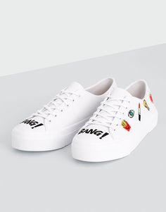 Ténis remendos branco - Ver tudo - Sapatos - Mulher - PULL&BEAR Portugal