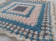 Little Man's Teal, Gray, and Cream Crochet Baby Blanket - Boy's Crochet Blanket - Granny Square Afghan 25 by 25 on Etsy, $35.00