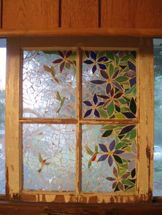 Glass mosaic on old window - Summer Hummers