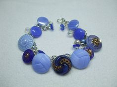 Vintage Beautiful Unique Hand Made Blue Czech  Glass Vintage Button and Bead Bracelet--One of a Kind - $24.50