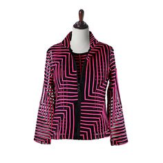 "Damee NYC Jacket Twin Set with Tank Top - ""Step Up II"" in Fuchsia and Black - 33201"