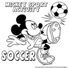 kleurplaten sport | Printable Coloring Pages for Kids : Mickey mouse sport…