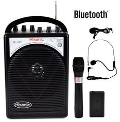 HISONIC HS122BT-HL Portable PA System with Dual Channel Wireless Microphones…
