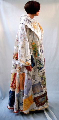The Great Coat - Jacqueline Treloar - Artscape Triangle Gallery Toronto - fully lined coat of cut nylon fabric with heat transfer images, beading and trims.