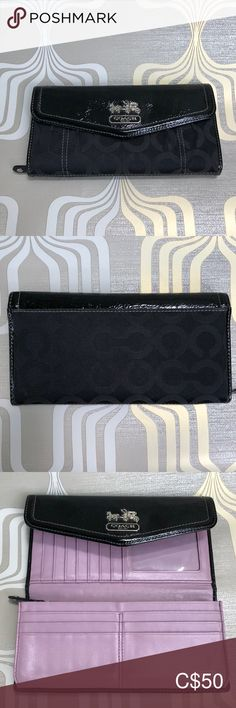 Coach Black Signature Trifold Wallet Great used condition - The inside Lavender leather is scratched by the ID window, other then that it is like new.  Black canvas Coach pattern with black patent leather fold over with snap. This wallet has many compartments and card slots. Coach Bags Wallets Black Canvas, Black Patent Leather, Coach Bags, Bed Pillows, Wallets, Lavender, Window, Purple, Pattern