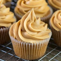 Celebrate fall with some pumpkin cupcakes! These Pumpkin Spice Cupcakes with Pumpkin Buttercream Frosting are gluten free, dairy free, vegan, and nut free. They are an easy and allergy friendly way to add pumpkin spice to your dessert menu Icing Recipe, Frosting Recipes, Cupcake Recipes, Cupcake Cakes, Dessert Recipes, Bar Recipes, Caramel Buttercream Frosting, Coffee Buttercream, Orange Buttercream