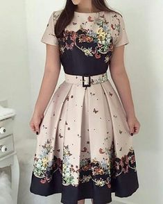 Shop Butterfly Print Short Sleeve Belted Pleated Dress right now, get great deals at chiquedoll Denim Maxi Dress, Dress Skirt, Bodycon Dress, Shirt Dress, Girly Outfits, Dress Outfits, Casual Dresses, Fall Dresses, Modest Fashion