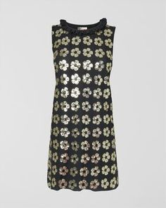 Floral Sequin Frill Neck Dress,Black,original