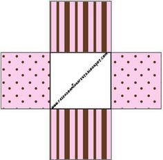 Poá e Listras Rosa e Marrom - Kit Completo com molduras para convites, rótulos para guloseimas, lembrancinhas e imagens!