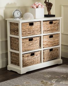 Beachcrest Home Clarion 6 Drawer Accent Chest Color: Distressed White Basket Drawers, Storage Drawers, Storage Baskets, Storage Shelves, Storage Chest, 6 Drawer Chest, Drawer Unit, Chest Of Drawers, Rattan