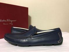 Salvatore Ferragamo Pacifico Driver Blue Leather Men's Slip On Loafers Size 7 D