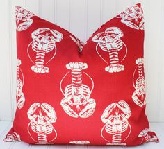 Lobster Pillow Cover Red Pillow Cover by MariaClaireInteriors
