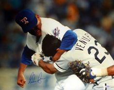 Nolan Ryan Autographed 16x20 Photo Texas Rangers Ventura Fight - Nolan Ryan COA